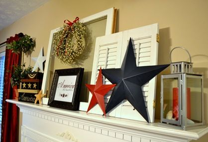 Summer Mantle Decor- stars would look good on my bedroom wall!
