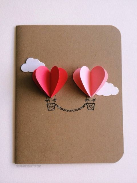 Couple Heart Hot Air Balloon Card - 25+ Easy DIY Valentine's Day Cards - NoBiggie.net