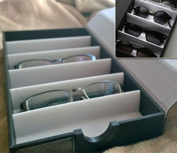 ファッションpuレザー眼鏡サングラスグリッドディスプレイストレージのキャリングケース旅行ウォッチボックス/6ピース家族包装スロットアイウェア(China (Mainland))