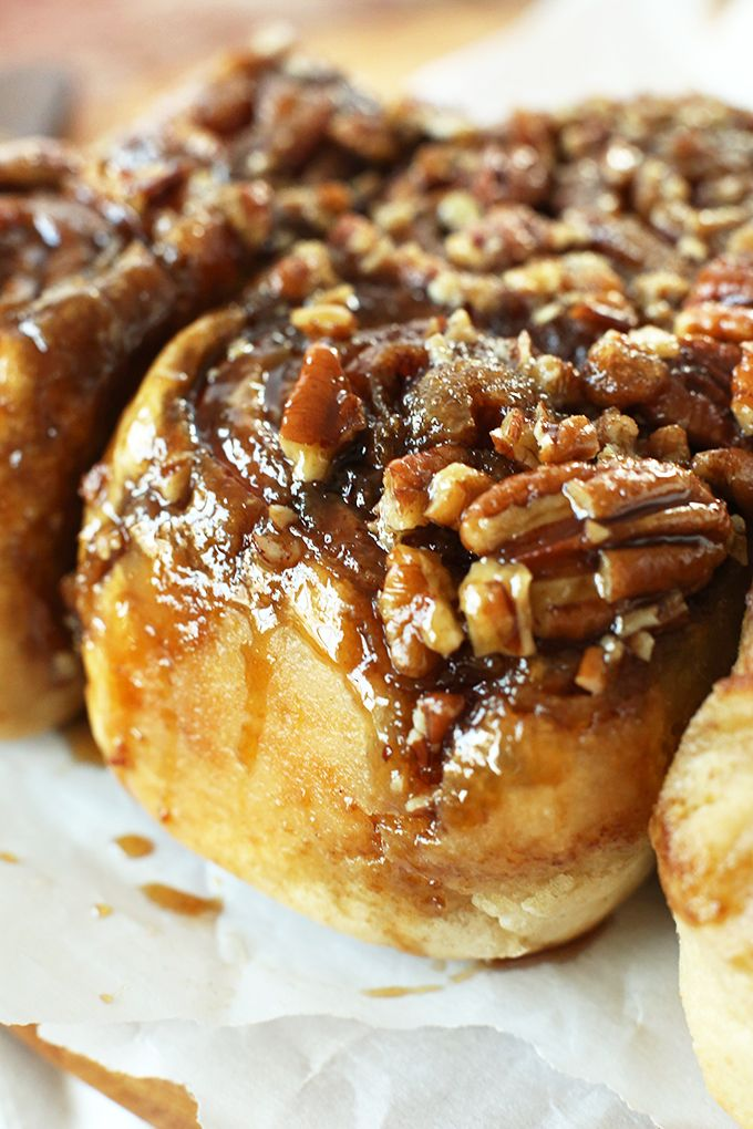Enjoy this southern classic recipe of sticky buns with chopped pecans and ooey gooey brown sugar and butter glaze.  Family will love this healthier version of everyone's favorite sticky buns.
