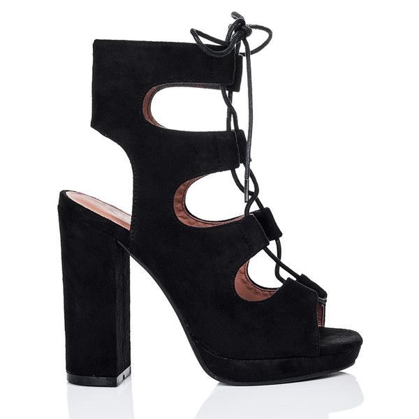 SpyLoveBuy Burma Lace Up Block Heel Sandals Shoes   Black Suede Style ($46) ❤ liked on Polyvore featuring shoes, sandals, black, suede lace up sandals, lace-up sandals, block-heel sandals, high heel sandals and peep toe sandals