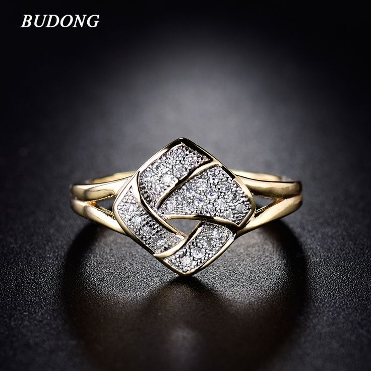 Luxury Size 9 Fashion Twisted Finger Band for Women  Gold  Plated Ring Crystal Cubic Zirconia Wedding Jewelry R281