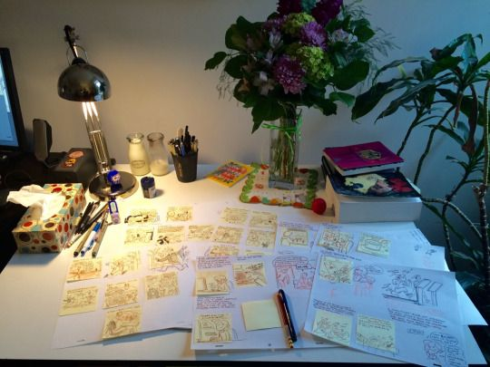 A behind the scenes look at my 2016 Hourlies, done mostly on sticky notes with orange colerase pencil and inked with Zebra pen.