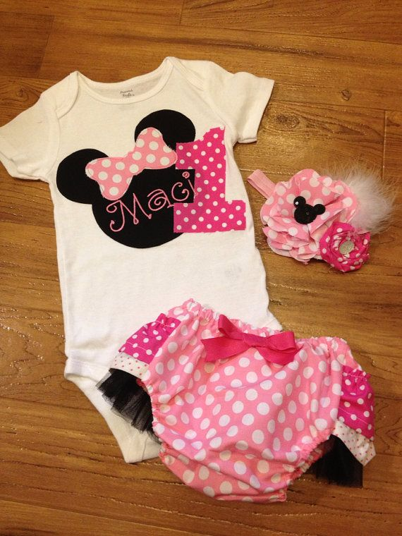 Minnie mouse head birthday outfit in pink by PeacebyPiece01
