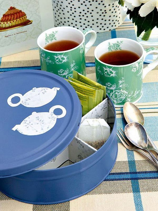 diy-easy-kitchen-project - use a christmas cookie tin, paint it & repurpose for a unique & organized way to store tea bags