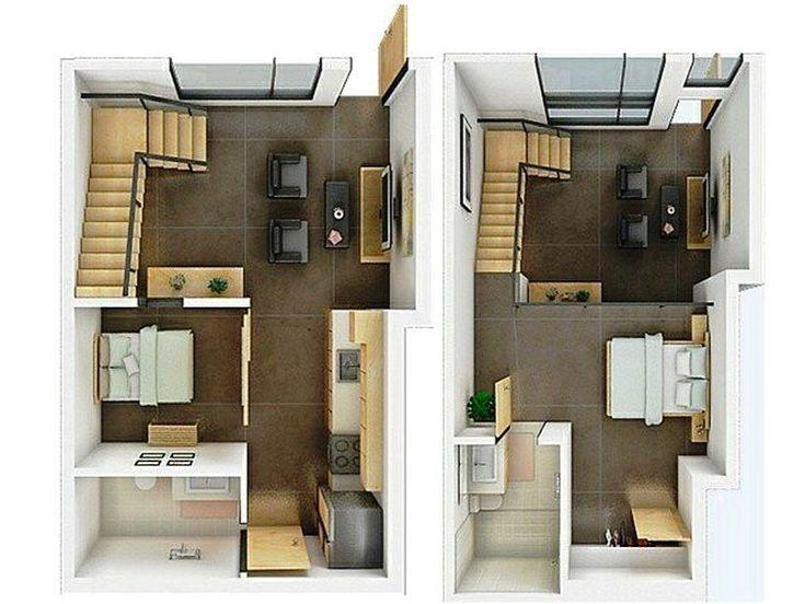 Contoh Gambar Denah Rumah Minimalis 3d 2 Lantai Small House Plans Loft House Loft Apartment Floor Plan Modern house plan with loft