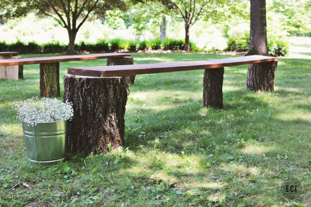 DIY Wedding Seating- Rustic Log Benches