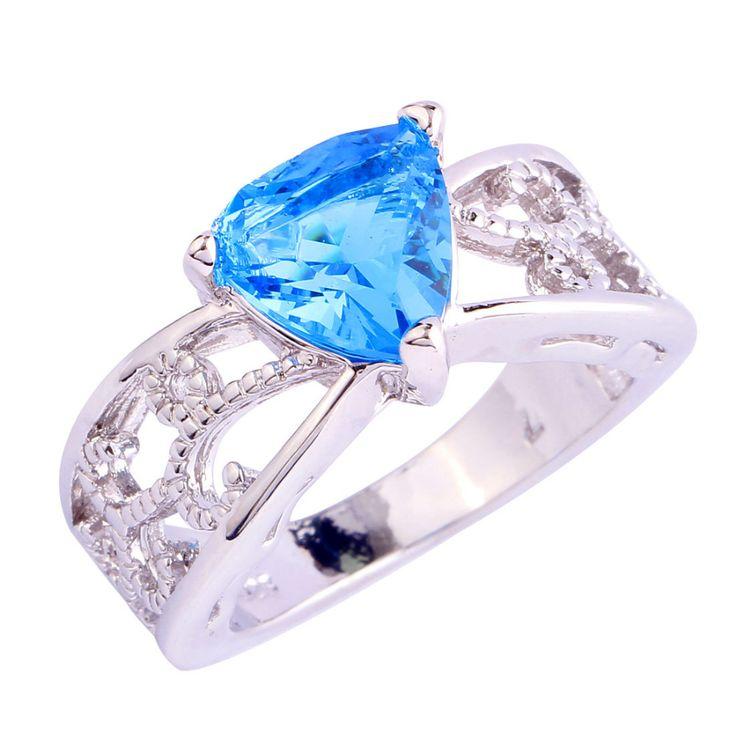 2017 valentijnsdag Chic Blauw CZ Zilveren Ring Maat 6 7 8 9 10 11 12 Nieuwe Mode-sieraden Voor Vrouwen Gratis Verzending groothandel