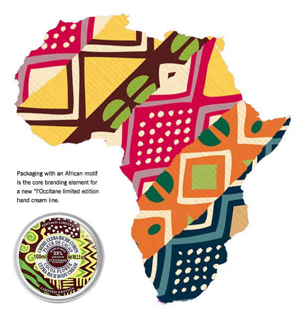 The African-themed packaging gave L'Occitane an opportunity to remind consumers of their products' much celebrated key ingredient -– shea butter, the ivory-colored fat extracted from the nut of the West African shea tree and used in fine cosmetics, chocolate and medicines.