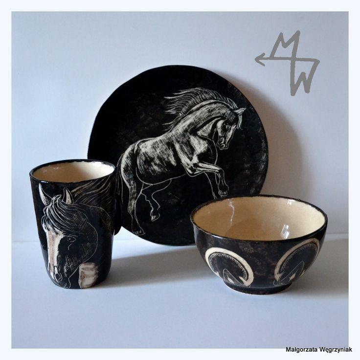 Breakfast set Black Horse #mwceramics #malgorzatawegrzyniak #polandhandmade #ceramics #ceramika #pottery #breakfast #set