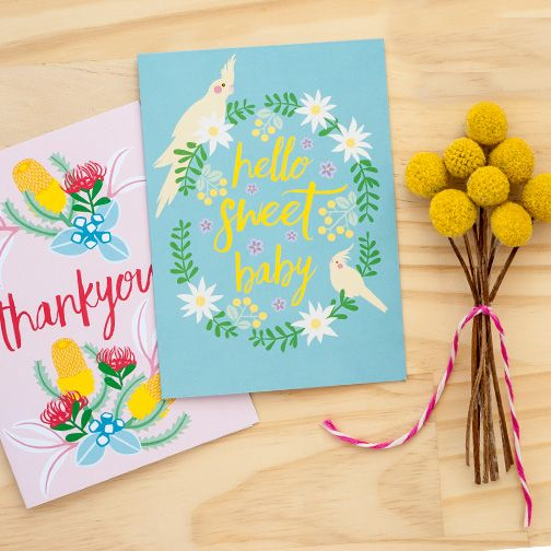 Thankyou Blush & Sweet Baby Cockatiels cards by Earth Greetings  Father's day cards by Earth Greetings #recycled #earthfriendlygreetingcards #australianmadegreetingcards #ecofriendlycards #newbabycard #thankyoucard