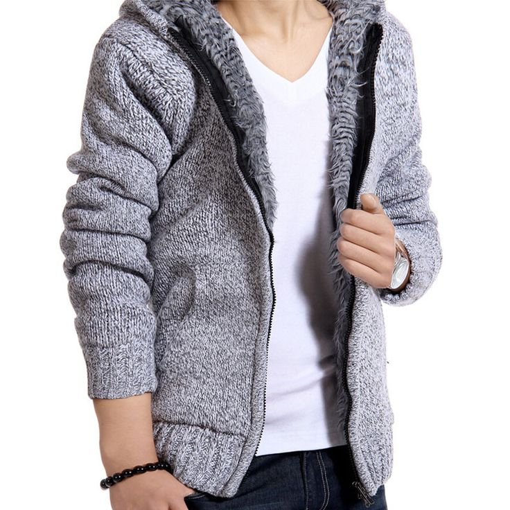 Thick Warm Soft Fur Hooded Casual Men's Jacket M-2XL 5 Colors