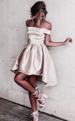 Sexy Off the Shoulder Light Champagne Prom Dress,Short Prom Dresses,Short Homecoming Dress,L88 #shortpromdresses