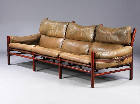 Design Classic By Arne Norell Model Kontiki Olive Brown 3 Seater Leather Sofa With Leather Belts Canvas And Oakwood Sweden Vintage Designklassiker Ledersofa Und Ledersessel Braun