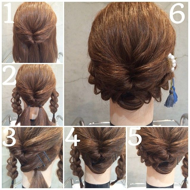 ミディアムさん向けセルフアレンジ ①サイドと、襟足の髪を残してむすんで、くるりんぱ。 ②襟足とくるりんぱした毛先を二つに分けて結ぶ。サイドの髪は三つ編み。 ③襟足の髪を逆の襟足のとこでピンでとめる。 ④逆も同じ。 ⑤三つ編みをくるりんぱで、かくれる位置でピンでとめる。 ⑥逆も同じ  難しいですが、挑戦してみてくださいね #hair #hairset #hairsalon #hairstyle #hair_style #hairarrange #kumamoto #熊本#セルフアレンジ #浴衣 #LiPix