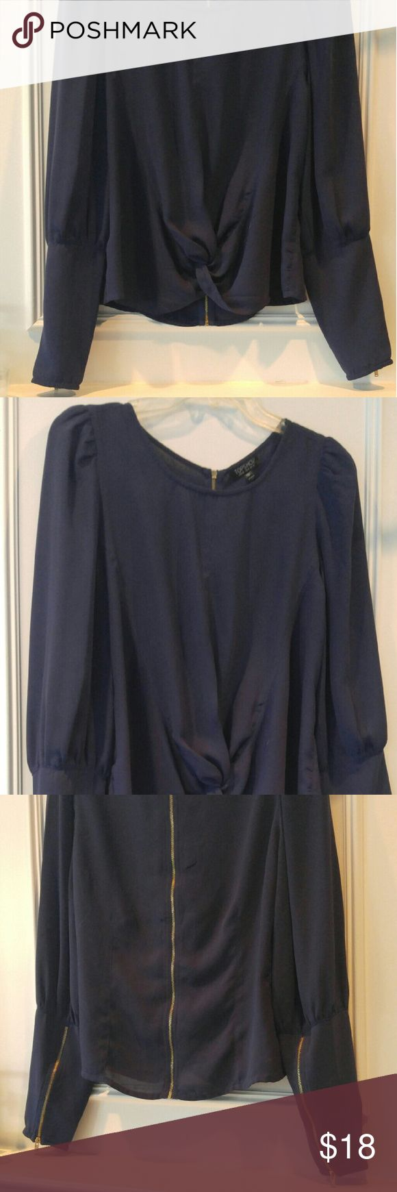 Topshop navy top Topshop top with gold zippered back and wrist and knotted hem. Topshop Tops