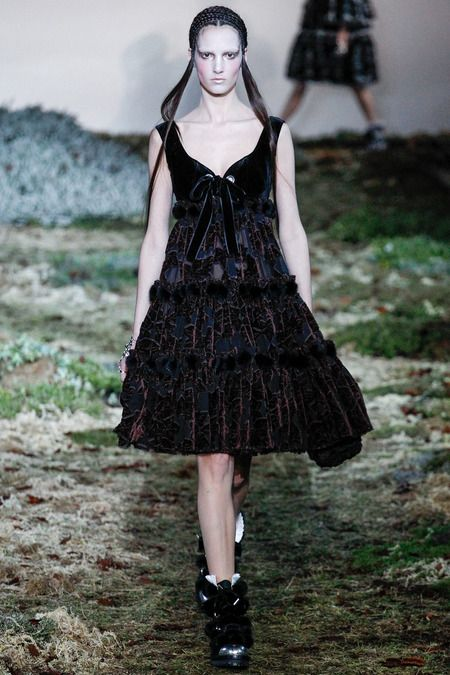 Alexander McQueen || Fall 2014 The texture and weight of the textile contrast the babydoll frock shape perfectly.