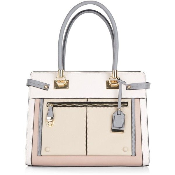 New Look Nude Colour Block Tote Bag (£30) ❤ liked on Polyvore featuring bags, handbags, tote bags, oatmeal, white purse, nude purses, tote purses, faux leather tote bag and color block tote