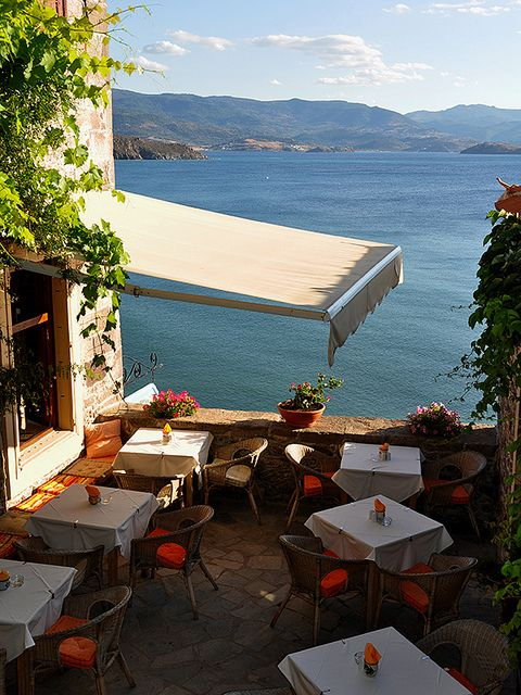 Dining spot in Molyvos village, Lesvos, Greece