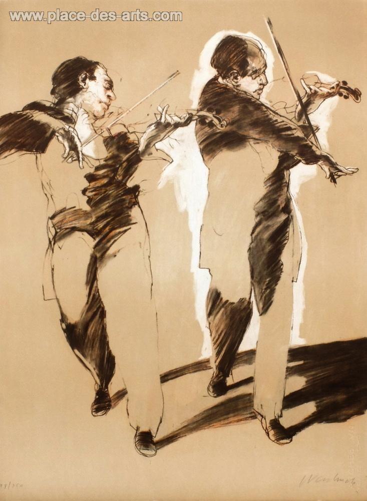 Duo de violons, Lithographie, du peintre, Claude, WEISBUCH, Signée et numérotée au crayon