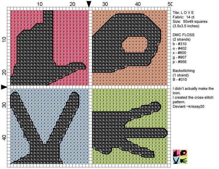 Free Cross Stitch Pattern - L O V E cross stitch by ~Krissay20 on deviantART