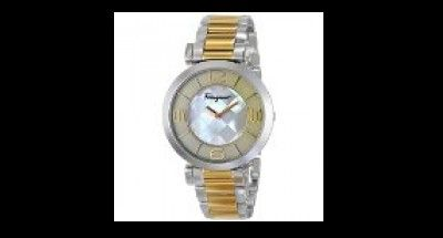 SALE ENDS 4HRS: Salvatore Ferragamo Women's FG3060014 Gancino Two-Tone Watch with Link Bracelet, 5-STAR Rating