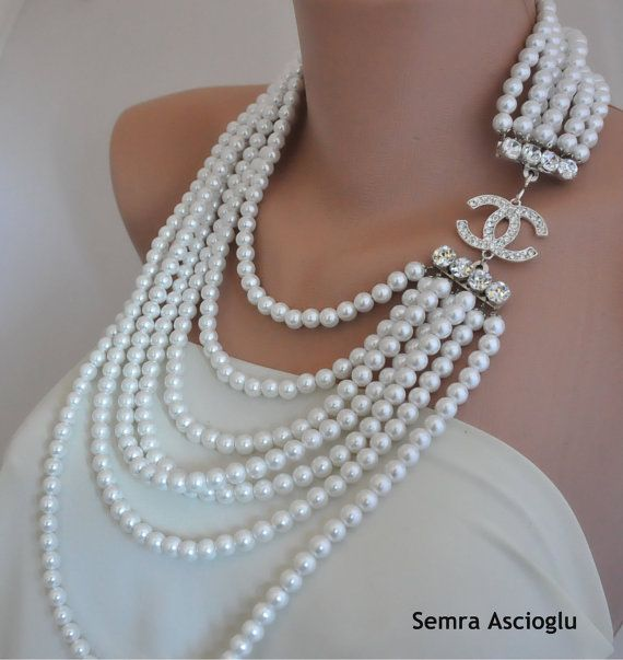chanel inspired handmade weddings white pearl necklace. Black Bedroom Furniture Sets. Home Design Ideas
