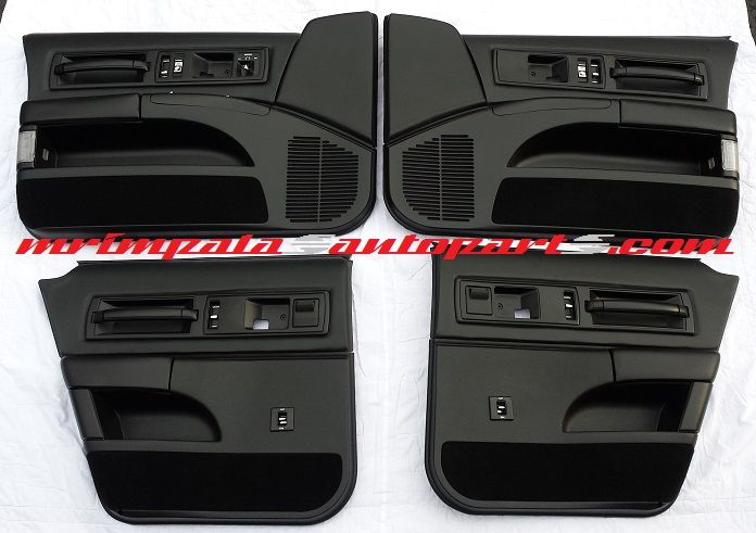 94-96 Impala SS Door panel set in custom all black. **BUILT TO ORDER** Great upgrade from the factory stock gray units. These are completely gone through. New carpet,vinyl, insulation pad,speaker mesh,all window switches and mount hardware. All plastic is reconditioned with black dye. Come ready to install. Fits 91-96 Caprice or 94-96 Impala SS.