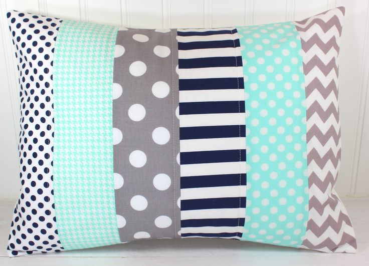 Pillow Cover, Nursery Pillow Cover, Patchwork Pillow, Boy Nursery Decor, Nautical, 12 x 16 Inches, Mint Green, Gray, Grey, Navy Blue by theredpistachio on Etsy
