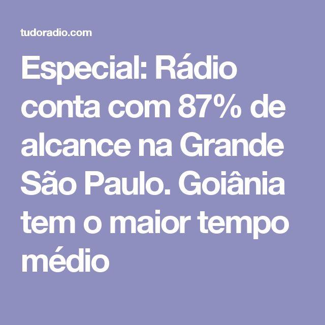 Especial: Rádio conta com 87% de alcance na Grande São Paulo. Goiânia tem o maior tempo médio