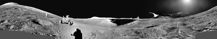 An Apollo 15 Panorama: Astronaut Exploring the Moon. The mission, which blasted off from Earth on 1971 July 26, was the first to deploy a Lunar Roving Vehicle. Pictured in this digitally stitched mosaic panorama, David Scott examines a boulder in front of the summit of Mt. Hadley Delta. The shadow of James Irwin is visible to the right.