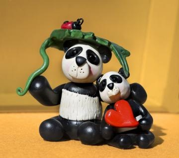 Panda Love ~ polymer clay