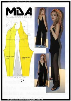 Portuguese site will illustration showing how to alter a standard bodice and pants pattern to create this jumpsuit