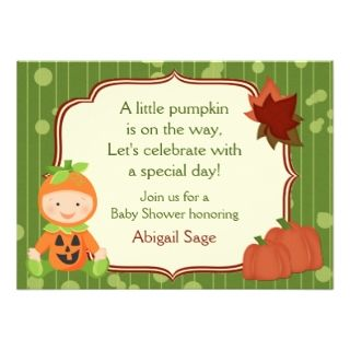 Little Pumpkin Halloween Baby Shower Invitation Wording: A Little Pumpkin  Is On The Way,