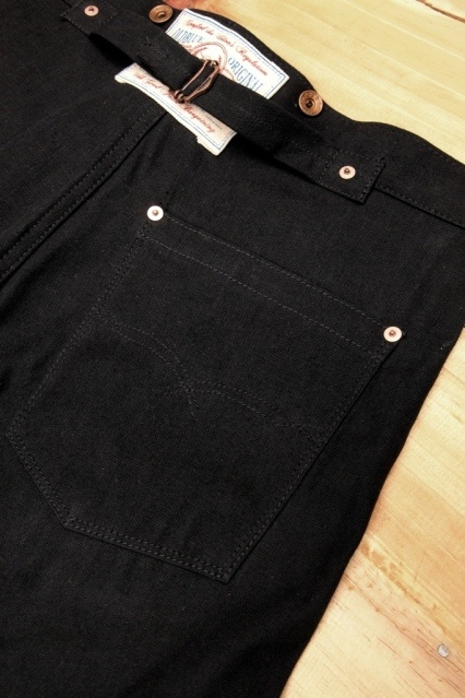 Oldblue Co. Work Pants Type I - Black Selvedge Duck | Back Pocket Detail.