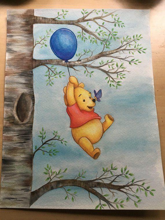 Winnie The Pooh Watercolor Painting Print In 2020 Disney