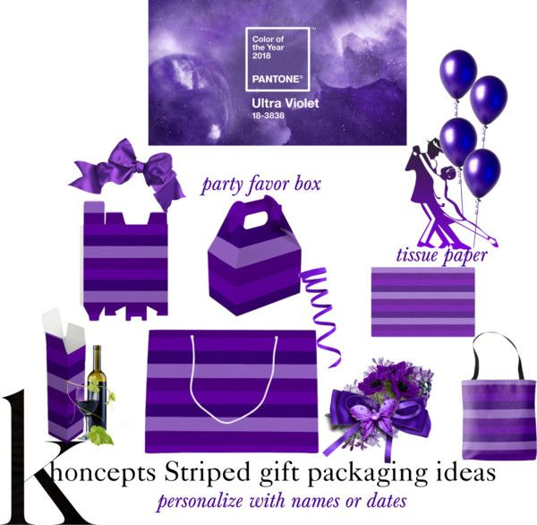 Shades of Purple Stripes Gift Packaging