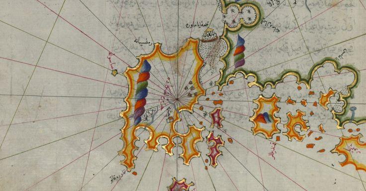 1525. Χάρτης της Δυτικής Ακτής του Ιονίου από τη Λευκάδα μέχρι τους Παξούς. Χαρτογράφος ο Piri Reis (Οθωμανός ναυτικός 1470-1554).