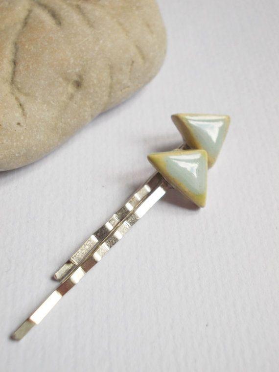 Ceramic hair pins// Porcelain hair pins// by CherishCeramics