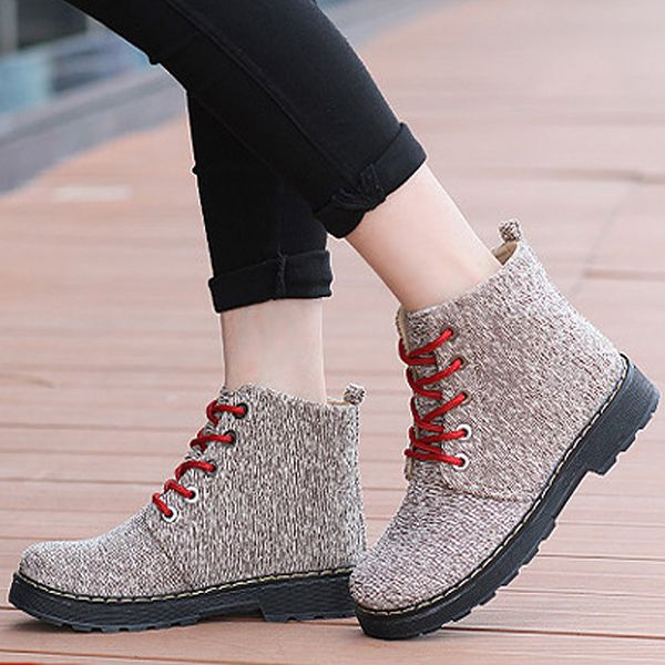 Ladies Canvas Martin Boots Soft Rounded Toe Lace UP Boots Ankle High Boots  - Gchoic.com #shoes #fashion #boots #popular #discount #cheap #under20 #warm #winter