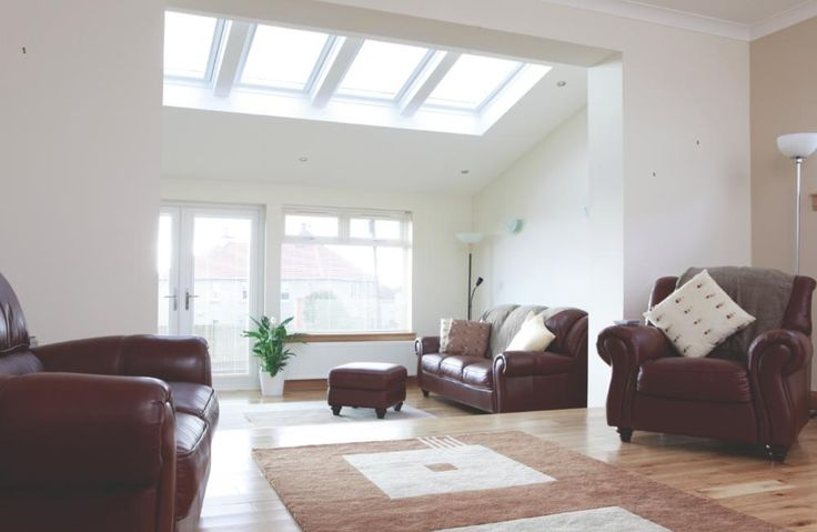 VELUX INTEGRA white windows are perfect for your new home extension. Easy to use remote control roof windows that allow fresh air into your home at the touch of a button. Image via designwithdaylight.co.uk.
