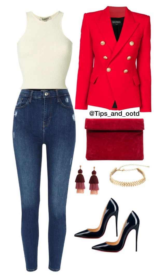 """""""Ootd"""" by mamzelleyaa-05 on Polyvore featuring mode, Yeezy by Kanye West, Balmain, Christian Louboutin et Rebecca Minkoff"""