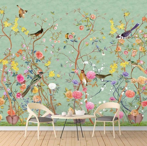 chinoiserie removable wallpaper vintage bird wallpaper chinoiserie mural sample WP030 Nauzha chinoiserie wallpaper