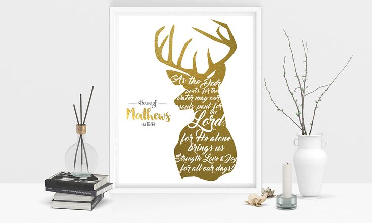 Christian Home Decor: As the deer pants for the water | Custom home decor | Christian Printables | Christian Design | Christian verse | Bible Verse artwork