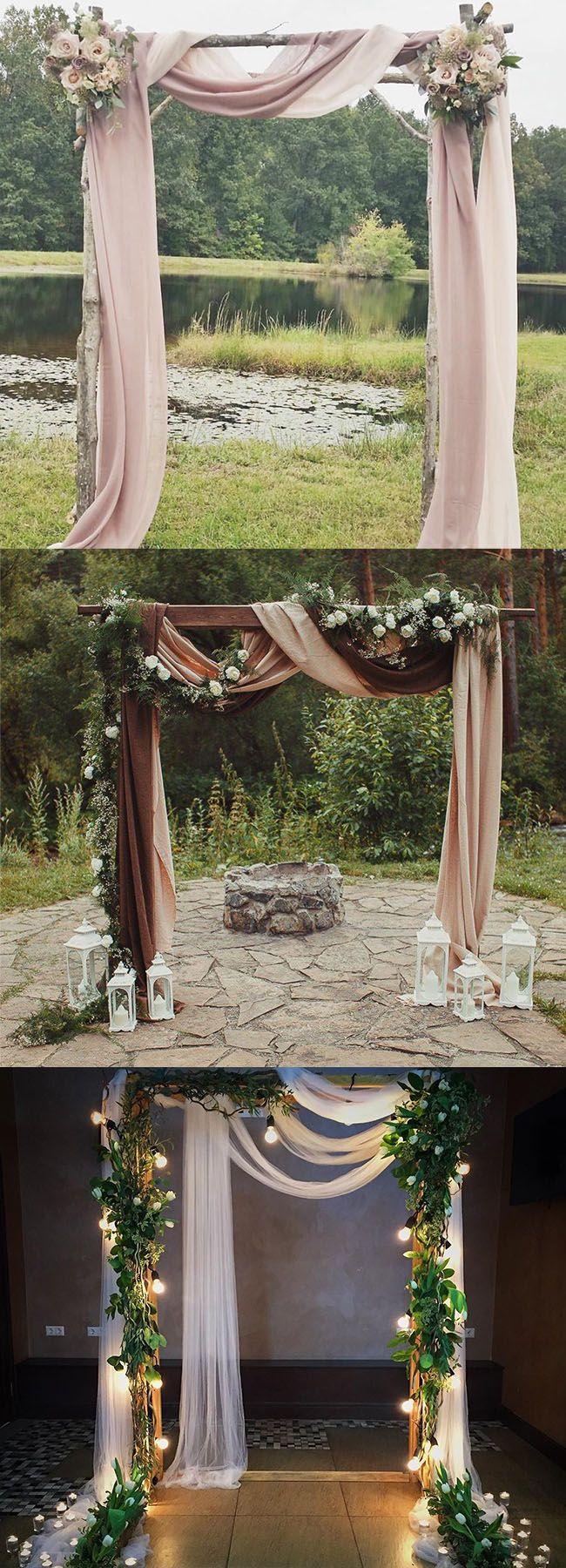 romantic drapery wedding arch decoration ideas