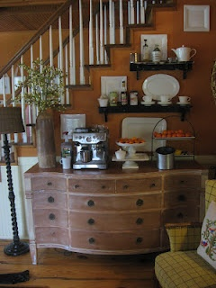 i really love this idea for an in-home coffee bar! Olive greens and darker woods instead of the rust colors and light wood, though. So cute!