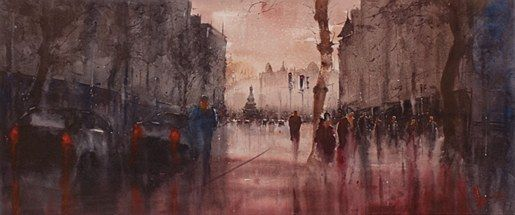 Alan Somers- Westmorland Street #dublin #art #painting #watercolour #citystreets #fineart