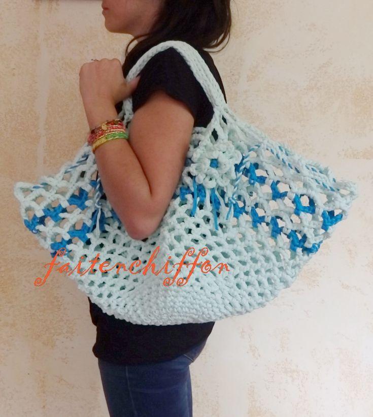 Tutoriel pour un sac / filet de plage ou de courses crocheté en trapilho