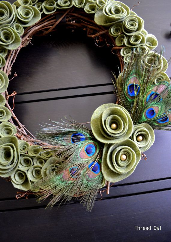 Natural Felt Flower Peacock Wreath for Spring by threadowl on Etsy
