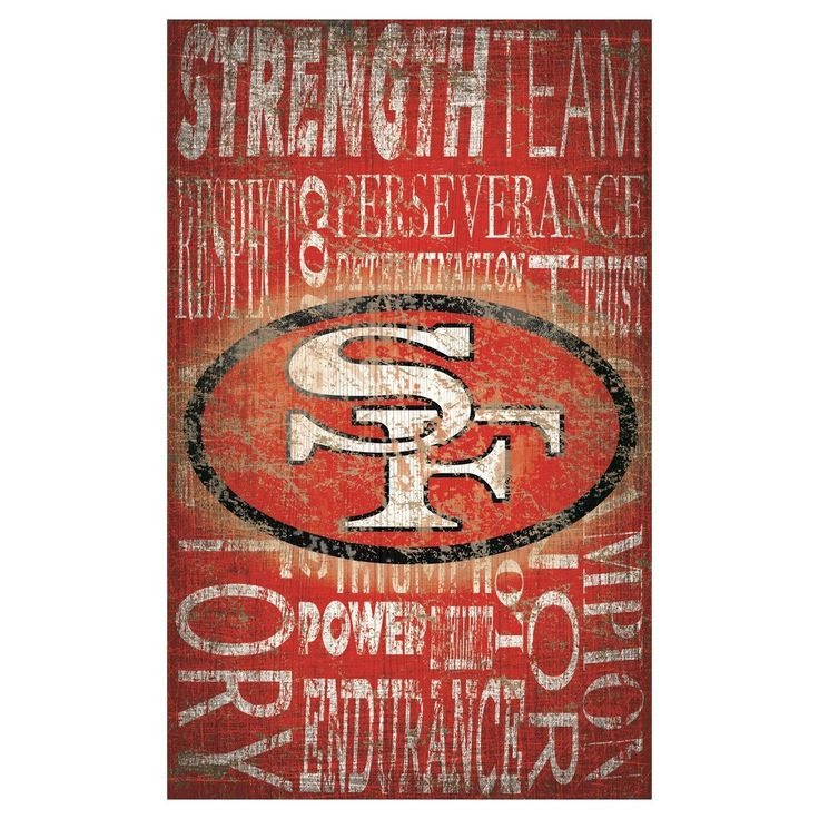 """NFL San Francisco 49ers Heritage Word Collage 11"""" x 19"""" Sign"""